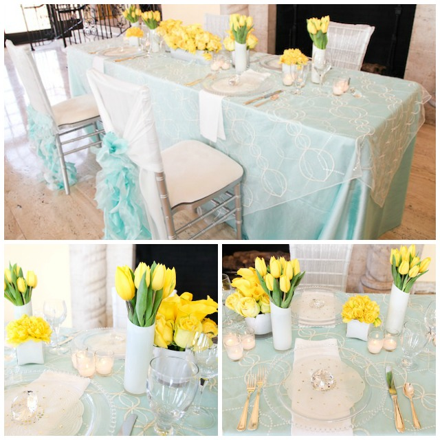 Sky blue and yellow tabletop