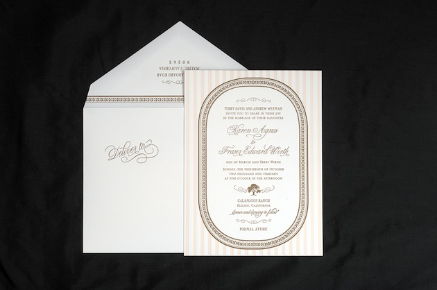 Blush and Brown Striped Wedding Invitation